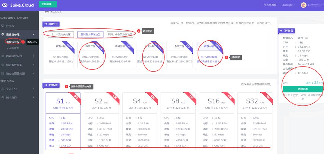 洛杉矶/日本/韩国CN2 GIA服务器VPS商家:HOTIIS / Suike.Cloud 1核1G 20G SSD 15M带宽500G流量-VPS排行榜